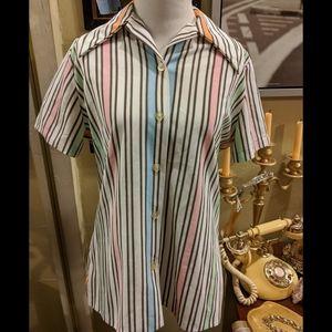 Vintage 70s Striped colorful Blouse